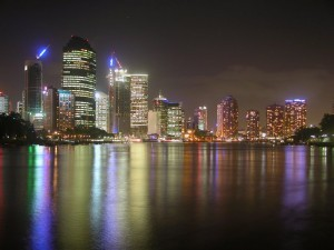 Бизнес-центр Брисбена ночью